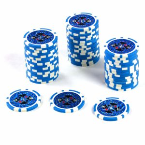 50 Poker-Chips Laser-Chips Wert 50-12g Metallkern Poker Texas Hold`em – blau