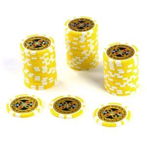 50 Poker-Chips Laser-Chips Wert 1000 - 12g Metallkern Poker Texas Hold`em – gelb